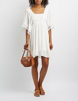 Charlotte Russe Crochet-Trim Babydoll Dress