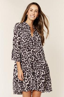 Gini London Animal Print Smock Oversized Tiered Mini Dress