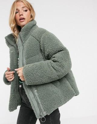 Asos Design DESIGN fleece puffer jacket in sage-Green