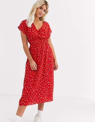 New Look rose detail midi dress in red floral