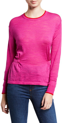 Veronica Beard Charlene Cinched Wool Pullover Sweater