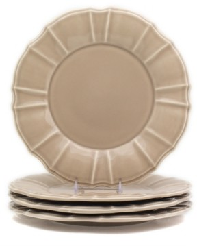 Chloé Euro Ceramica 4 Piece Taupe Dinner Plate Set