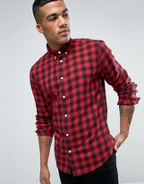 Solid Checked Flannel Shirt In Regular Fit