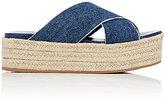 Miu Miu Women's Denim Espadrille Platform Sandals-BLUE