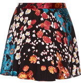 Alice + Olivia Blaise Flocked Floral-Print Crepe De Chine Mini Skirt