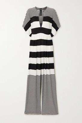 Norma Kamali Striped Stretch-crepe Jumpsuit - Black