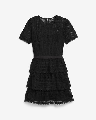 Express Lace Tiered Fit And Flare Dress