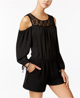 Amy Byer Juniors' Lace-Yoke Cold-Shoulder Romper