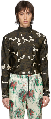 Dries Van Noten Green and Off-White Floral Mock Neck T-Shirt