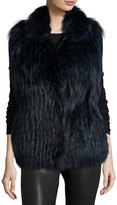Gorski Fox Fur Vest, Midnight Blue
