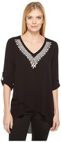Karen Kane Embroidered Crossover Top Women's Clothing