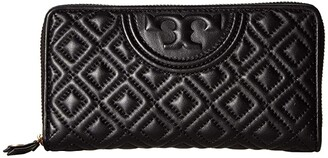 Tory Burch Fleming Zip Continental Wallet (Black 1) Bill-fold Wallet