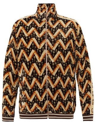 Gucci GG-logo Daisy Chevron-print Velvet Track Jacket - Brown Multi