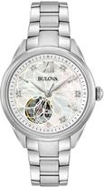 Bulova Diamond Dial open appature stainless steel ladies watch