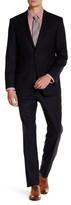 Ike Behar Navy Woven Two Button Notch Lapel Wool Suit