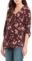 Bobeau Petites Floral Print V-Neck Roll-Tab Sleeve Top
