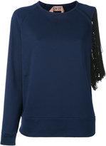 No.21 fringe-trimmed sweatshirt - women - Cotton/Polyester/Viscose - 42