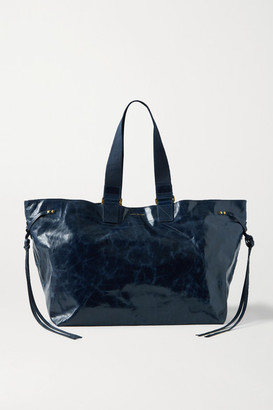 Isabel Marant Wardy Canvas-trimmed Crinkled Glossed-leather Tote - Midnight blue
