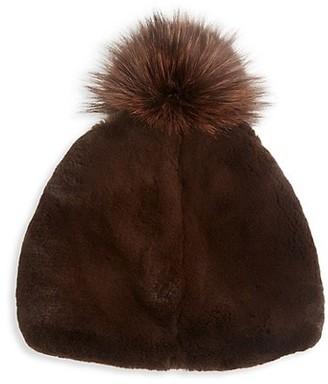 The Fur Salon Julia & Stella For Rabbit Fur & Fox Fur Pom-Pom Beanie