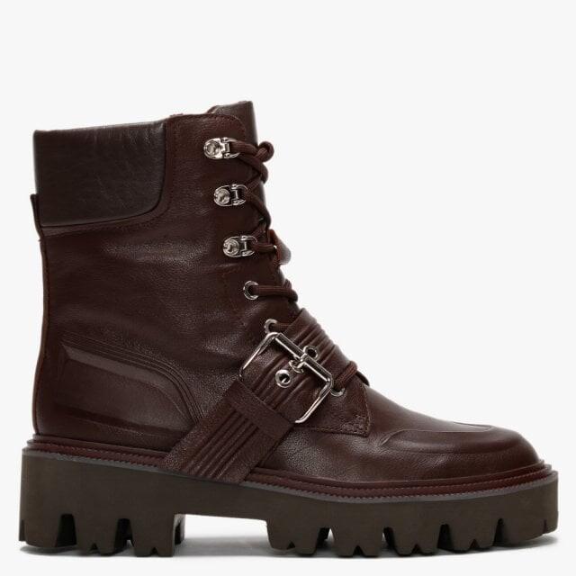 Daniel Elena Burgundy Leather Biker Boots