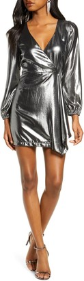 French Connection Metallic Wrap Dress