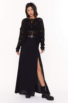 Nasty Gal Womens Come Slit With Us Linen Maxi Skirt - black - 6
