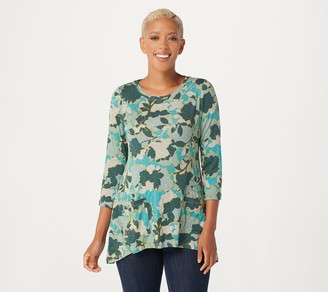 LOGO by Lori Goldstein Printed Cotton Slub Sweater With Pockets