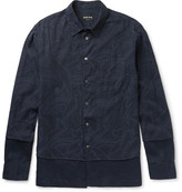 Giorgio Armani - Slim-fit Layered Cotton-jacquard And Linen Shirt