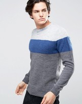 United Colors Of Benetton Colour Block Jumper In Mohair