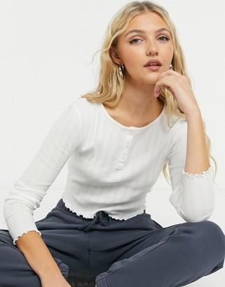 Topshop long sleeve button through top in white