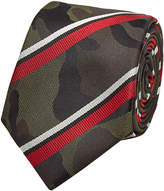 Valentino Camouflage Printed and Striped Silk Tie