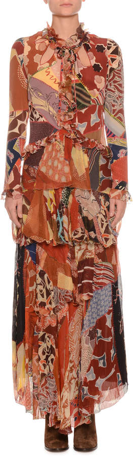 Etro Mixed-Print Long-Sleeve Long Silk Gown