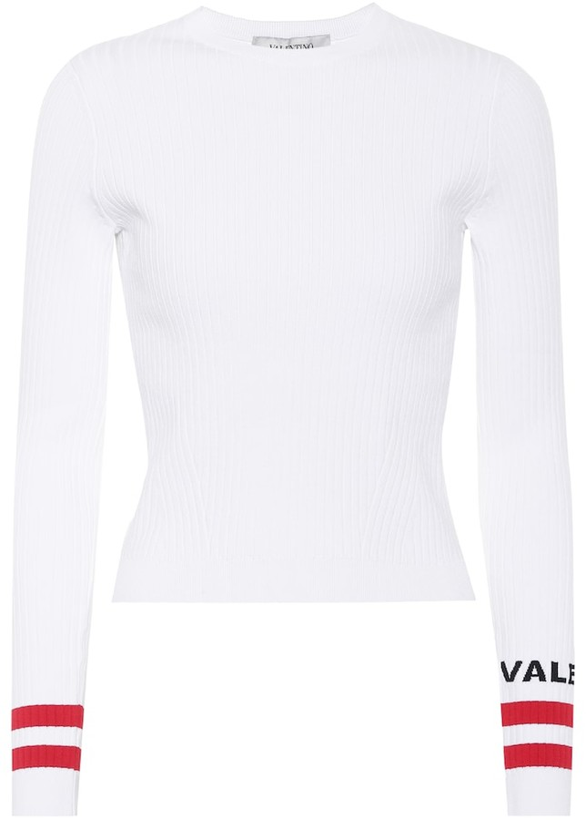 Valentino Long-sleeved rib-knit shirt