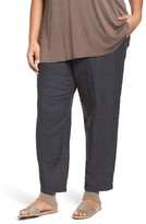 Eileen Fisher Plus Size Women's Washed Organic Linen Taper Leg Ankle Pants