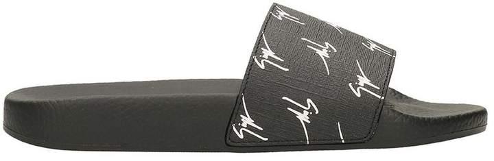 Giuseppe Zanotti Black Rubber Logo Slides