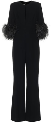 Elie Saab Exclusive to Mytheresa Feather-trimmed crepe jumpsuit