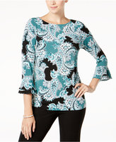 Charter Club Paisley-Print Ruffled Top, Created for Macy's