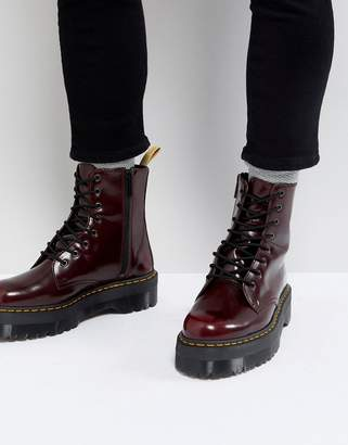 Dr. Martens vegan Jadon II 8-eye platform boots in red