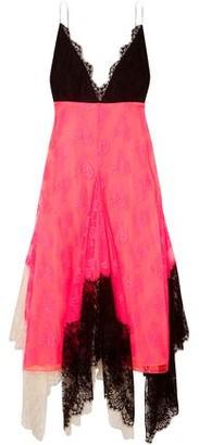 Christopher Kane Asymmetric Color-block Lace Midi Dress