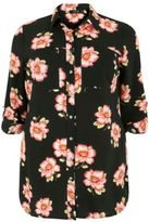 Yours Clothing YoursClothing Plus Size Womens Ladies Floral Print Crepe Shirt Chest Pockets