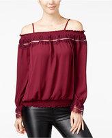 Amy Byer Juniors' Lace-Trim Off-The-Shoulder Top
