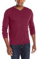 Calvin Klein Men's Long-Sleeve V-Neck Shirt, Crushed Cherries, Large