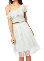 Miss Selfridge Petite Spot Mesh Skirt, Ivory