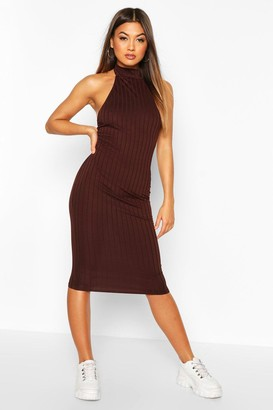 boohoo Ribbed Racer Front Midi Bodycon Dress