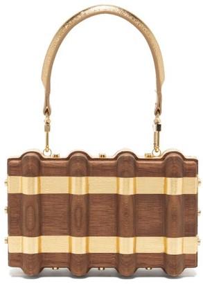 Sabry Marouf - The Djed Minaudiere Gold Leaf & Wood Bag - Gold Multi