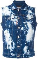 DSQUARED2 bleached splatter denim vest - men - Cotton/Polyester/Spandex/Elastane - 48