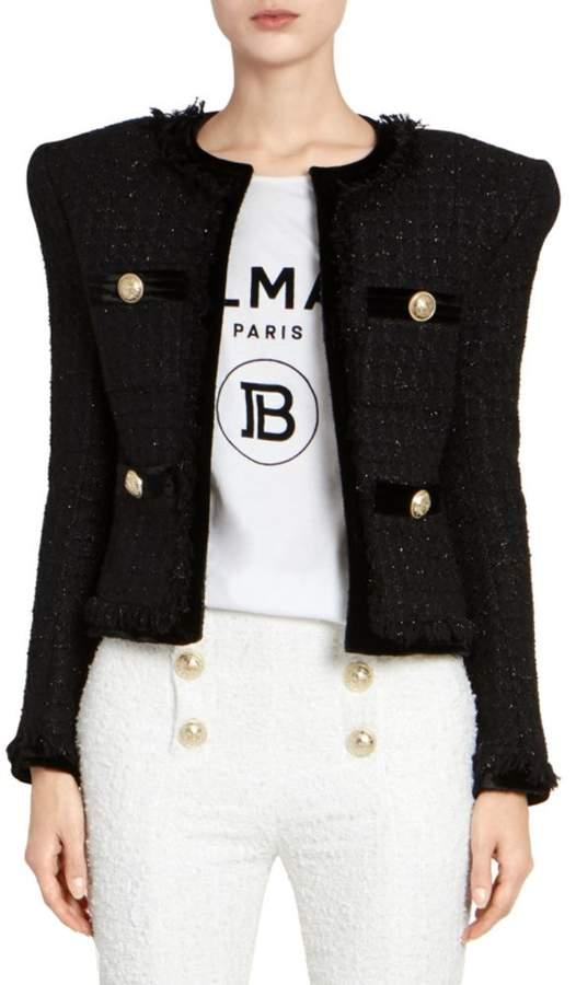 30d4a1907 Collarless Fringe Tweed & Velvet Jacket