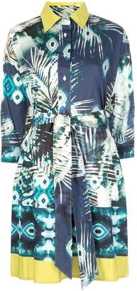 Sara Roka Abstract Print Shirt Dress