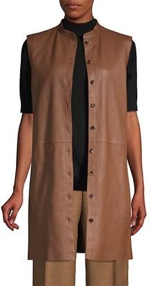Lafayette 148 New York Malva Lamb Leather Longline Vest