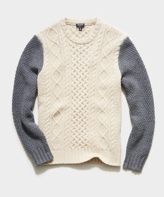Todd Snyder Colorblock Cable Fisherman's Sweater in Cream